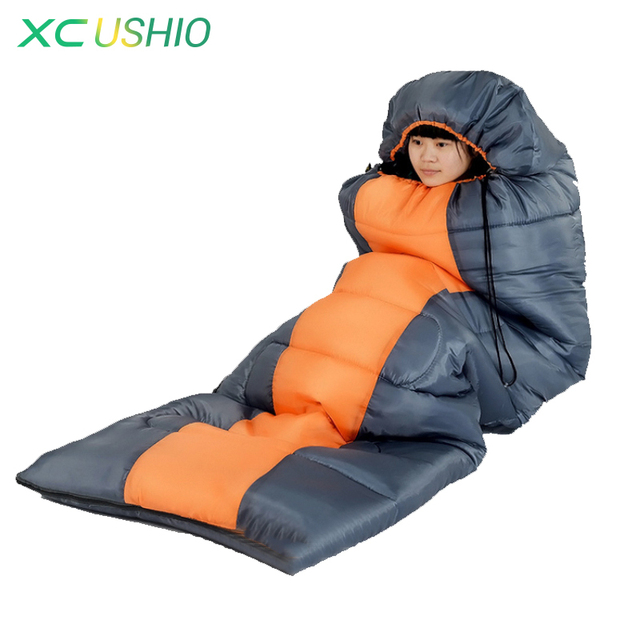 Wind Tour Cap Envelope Sleeping Bag Thermal Waterproof Portable 1.8KG Blue Orange Cotton Sleeping Bag For Outdoor Camping Hiking
