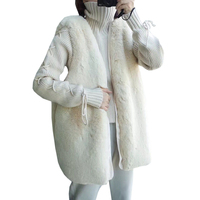 Faux Fur Rabbit Winter Coat Vest Women Cute Plush Fashion New Thick Jackets Beige Sweet Waistcoat