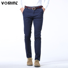 VOMINT 2017 New Mens Pants Cotton Slant Pocket Slim Straight Trousers Elasticity Stretch Fashion Pants Business Casual F6PI1999(China)