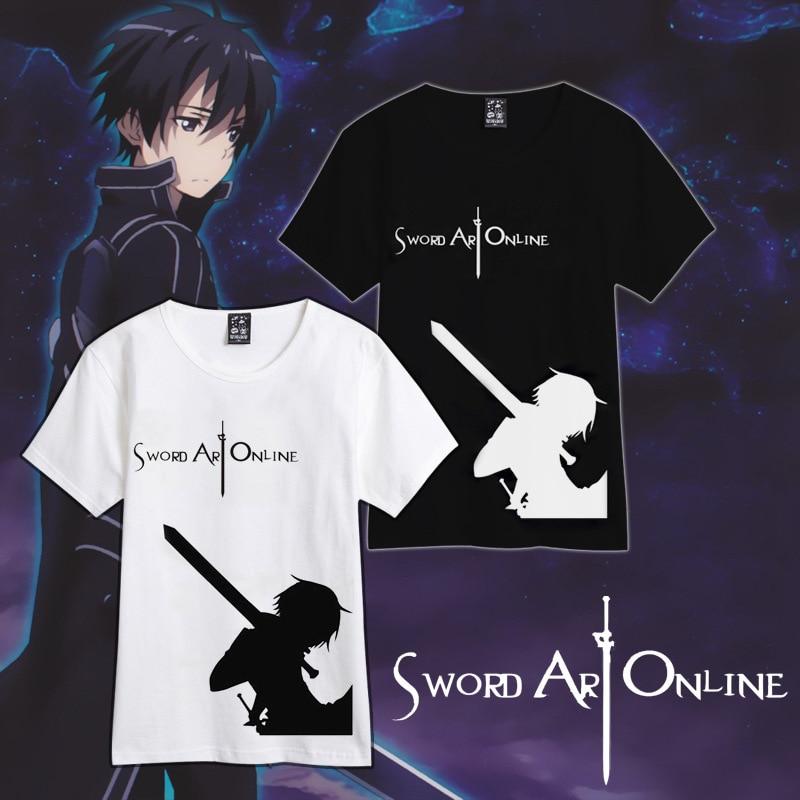 Summer style Sword Art Online SAO cosplay kirigaya kazuto costumes 100 cotton t font b shirt
