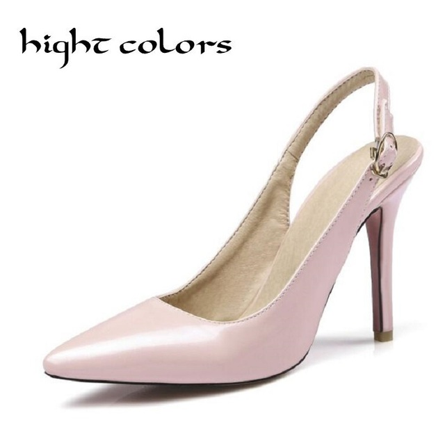 Plus Size 35-45 Women Pumps Ladies Shoes Sexy Pointed Toe High Heels Shoes Slingbacks Stiletto High Heel Sandals Pink Shoes