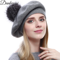 DANKEYISI Sliver Fox Fur Pompons Hat Knitted Cashmere Beret Female Winter Hats Caps Lady Cap Fashion