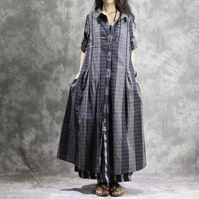 Johnature Nữ Sọc Cotton Linen Mùa Thu Hào Vintage Áo Khoác 2019 Mới Xám Dáng Rộng Nút Miếng Dán Cường Lực Áo Hào