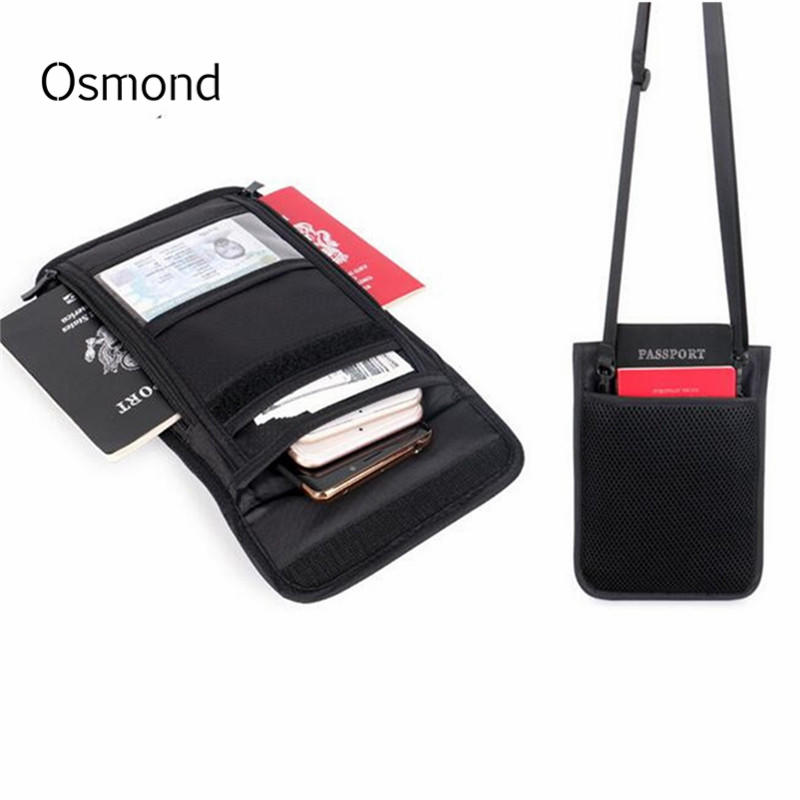 Osmond RFID Credit Card Holder Neck Hanging Travel Passport Cover Wallet Storage Clutch Money Bag Multifunction ID Card Package neck hanging travel accessory passport cover wallet credit id card holder air tickets package case unisex storage organizer bag