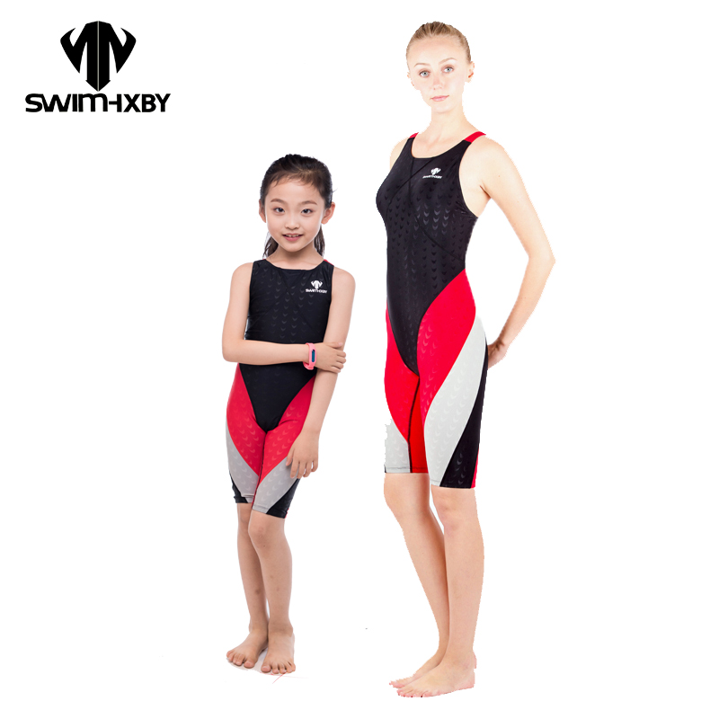 HXBY Sharkskin Competition Swimsuit For Girls Child One