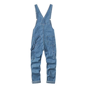Image 2 - Sokotoo Mens plus size big pocket loose bib overalls Casual working coveralls Suspenders jumpsuits Light dark blue jeans