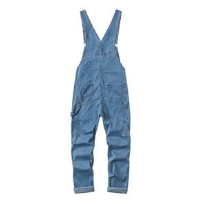 Image 2 - Sokotoo masculino plus size grande bolso solto bib macacão de trabalho casual suspensórios macacões jeans azul escuro claro