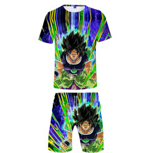 Mans T Shirt Sets Dragon Ball shirt and shorts Summer Super Broly Goku 3D Print Beach Boy Clothes