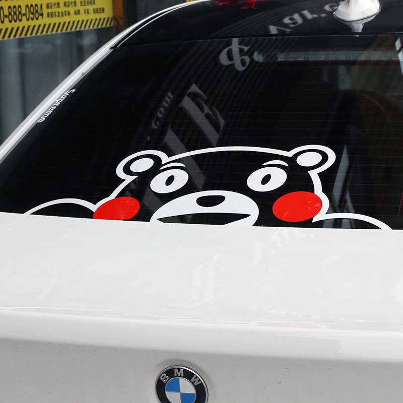 Car styling cute bear kumamon funny car window sticker vinyl motorcycle wraps car sticker decals audi automobiles accessories wholesale automobile