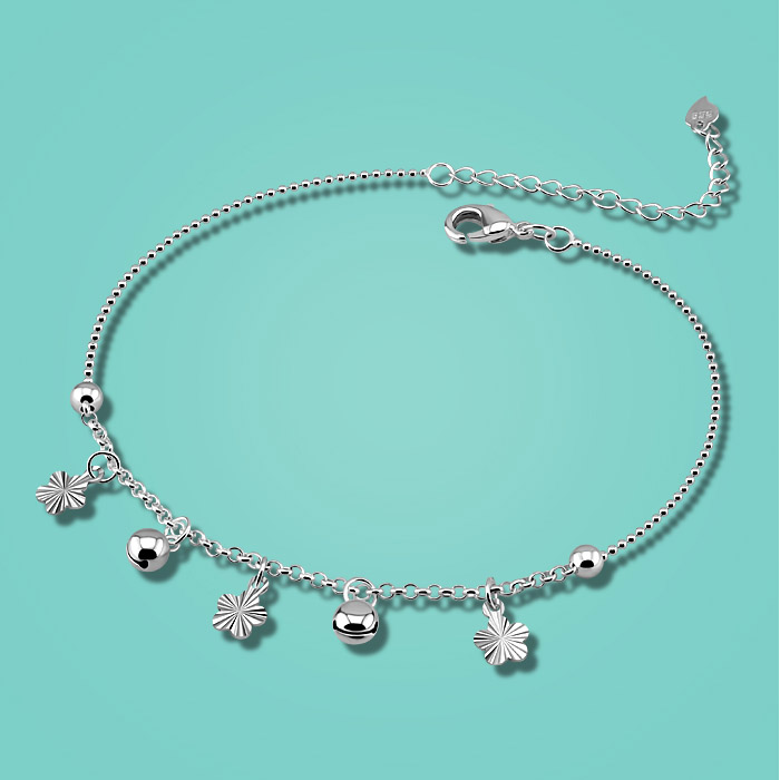 925 sterling silver anklets for woman cute plum flower pendant 28cm chains summer foot Silver jewelry birthday present send girl