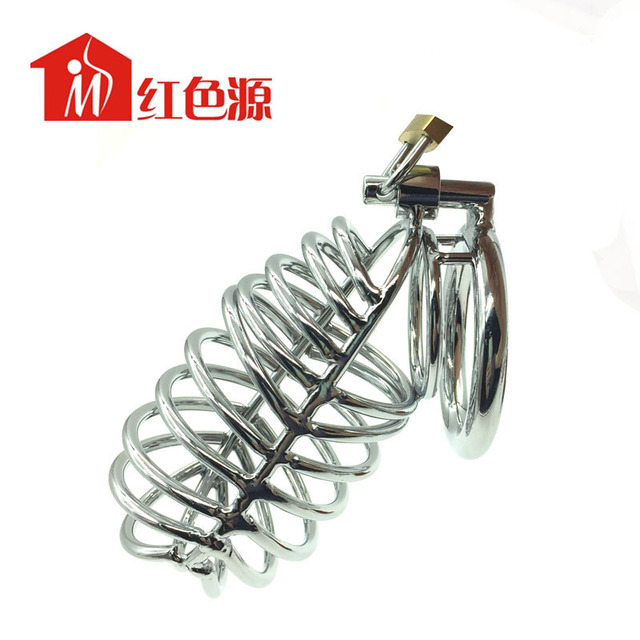 Super Personalized 2015 New stainless steel ball stretcher male chastity device cock ring,Wear suitable large penis cock cage