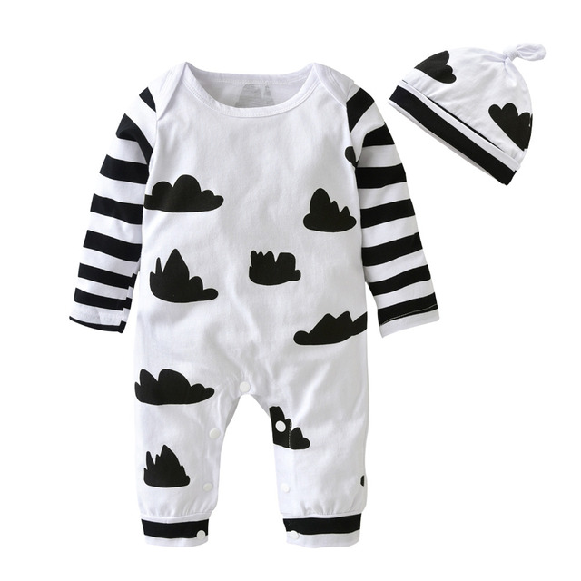 908e4a43dea Baby Boys Girls Rompers Autumn Toddler Clothes Suit Cartoon White and Pink Long  sleeve Jumpsuit+Hat 2pcs Infant Clothing