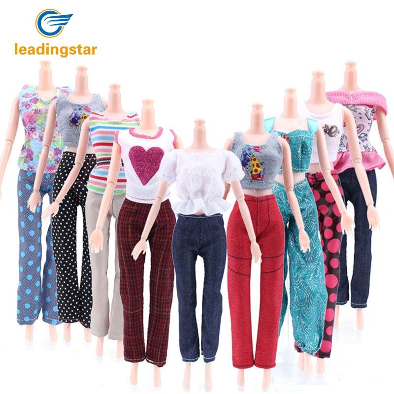 LeadingStar 5PCS 29CM Doll's Suit Vest Jacket+Trousers Doll Clothing Series (without Doll) for Barbie Dolls Clothes Mixed Style 1set white or pink vest trousers for barbie doll lifestyle suit windbreaker clothes trousers pajamas