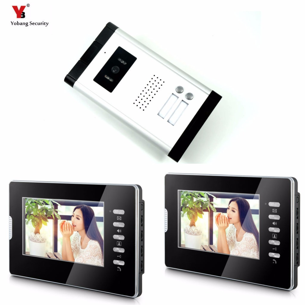 Yobang Security Apartment Intercom Entry 2 Monitor Wired 7 Color button Video Door Phone intercom System for 2 house my apartment