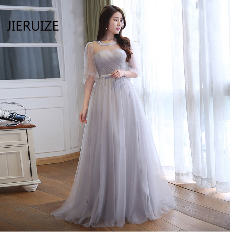 JIERUIZE robe de soiree longue Silver Tulle Cheap Evening Dresses Long Puffy Sleeves Evening Gowns Froaml