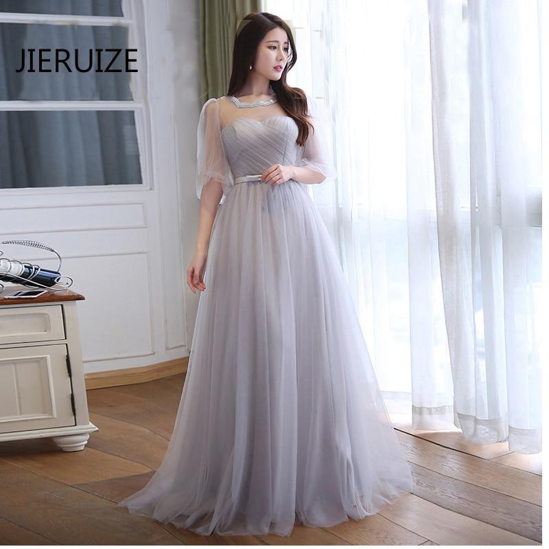 JIERUIZE robe de soiree longue Sølvtulle Billige kveldskjoler Lang - Spesielle anledninger kjoler - Bilde 1