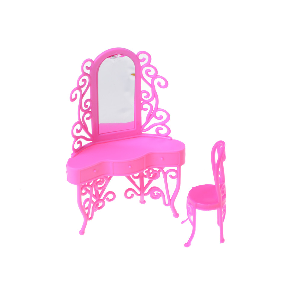 1Set High Quality Doll Accessory Dresser Pink Kid Play Toys Girls Birthday Gift Dressing Table Bedroom Miniature Furniture