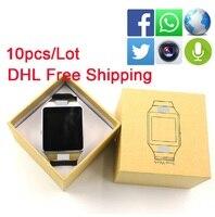 10pcs Lot DHL Shipping DZ09 Buletooth Smart Watch With Camera Smartwatch Support SIM TF Card Multi
