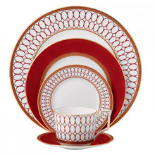 Ceramics Flat Plate Bone China Cup Saucer Set Red Platter Tableware European Style Western Dinner Dishes Coffee Cup Set 1pcs(China)