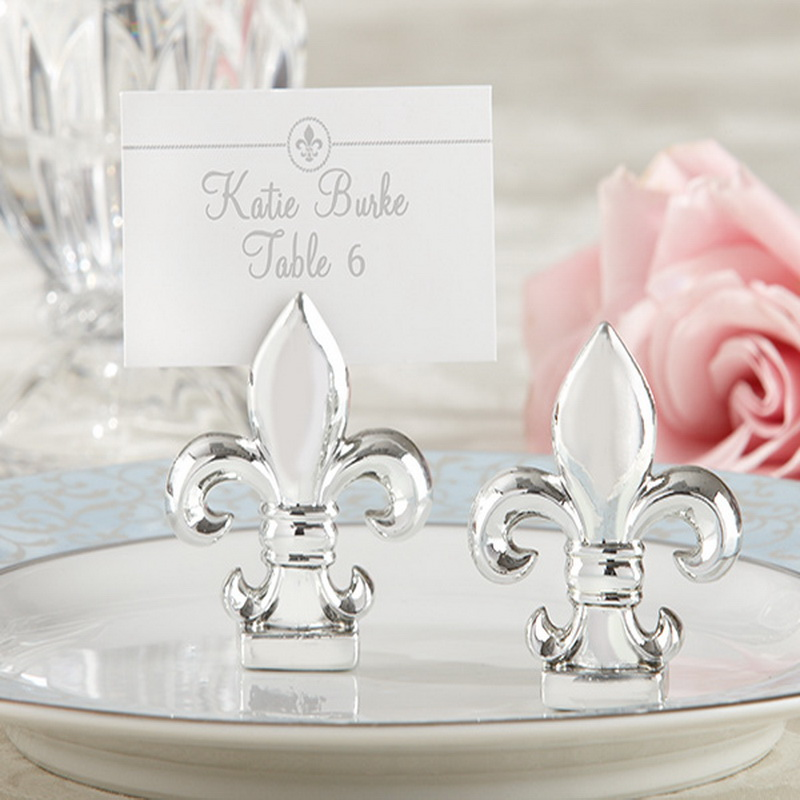 100pcs Lot New Wedding Favors Fleur De Lis Silver Finish Place