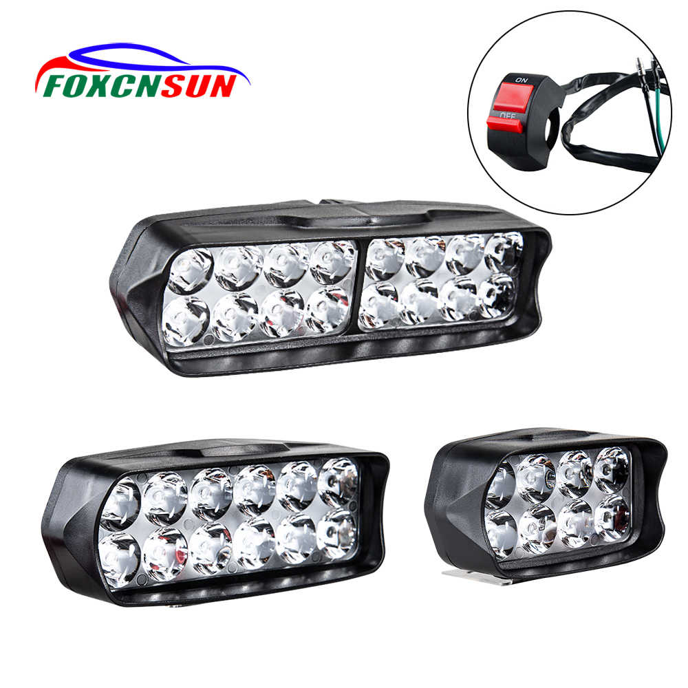 Universal Motorcycle Headlight LED 12W 18W 24W DC 9-85V LED Headlight Motorbike 8 12 16LEDs Samsung Chip Work LED Headlights