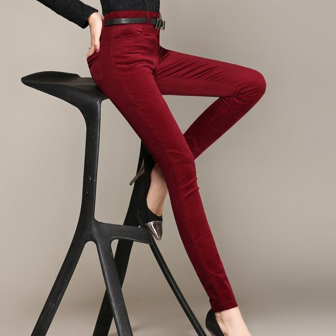 Spring and autumn new cotton corduroy feet pants women high waist stretch pencils leisure trousers