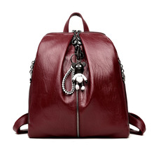 Women Backpack High Quality Youth Leather Backpacks School Bags For Teenagers With Pendant Sac a Dos Mochilas Mujer 2018