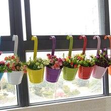 Varmhus Unique Hanging Vase Wrought Iron Flower Barrel Balcony Pots Planters Wall Hanging Bucket Pastoral Flower Holder