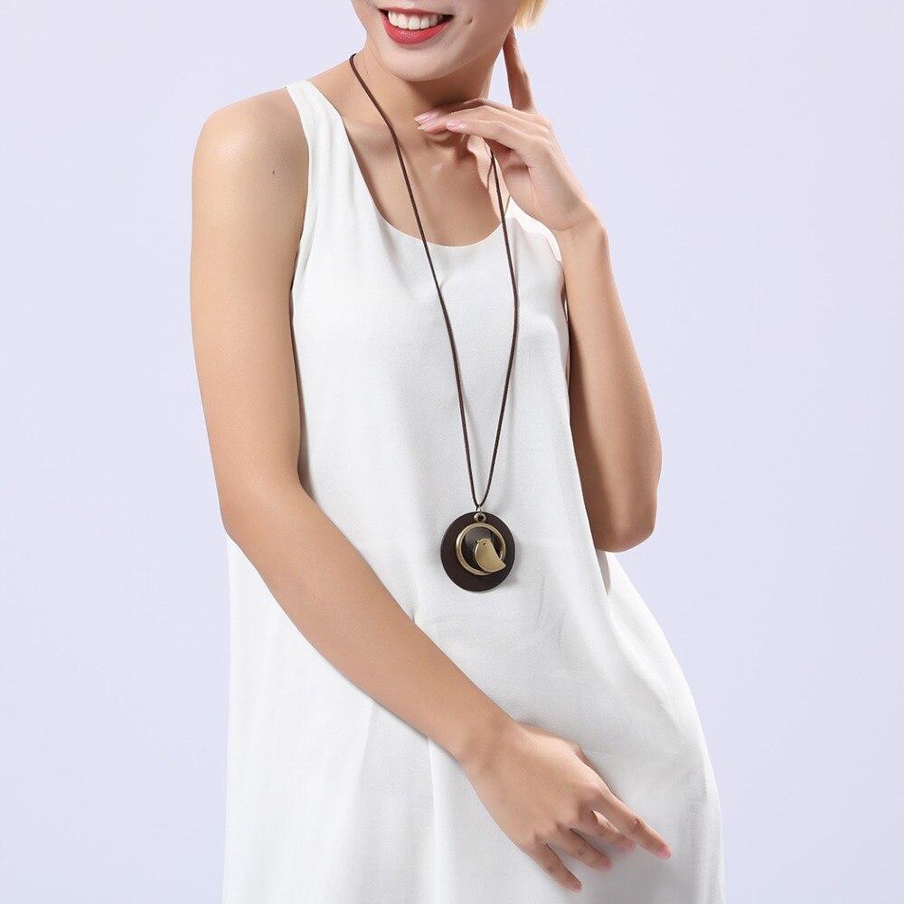 kvinna smycken uttalande halsband & berlocker, fågel trä pärla - Märkessmycken - Foto 3