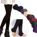 Высокое Качество Женщины Осень WinterThick Теплая Брюки Матовый Lining Stretch Руно Брюки Топтать Ноги Поножи