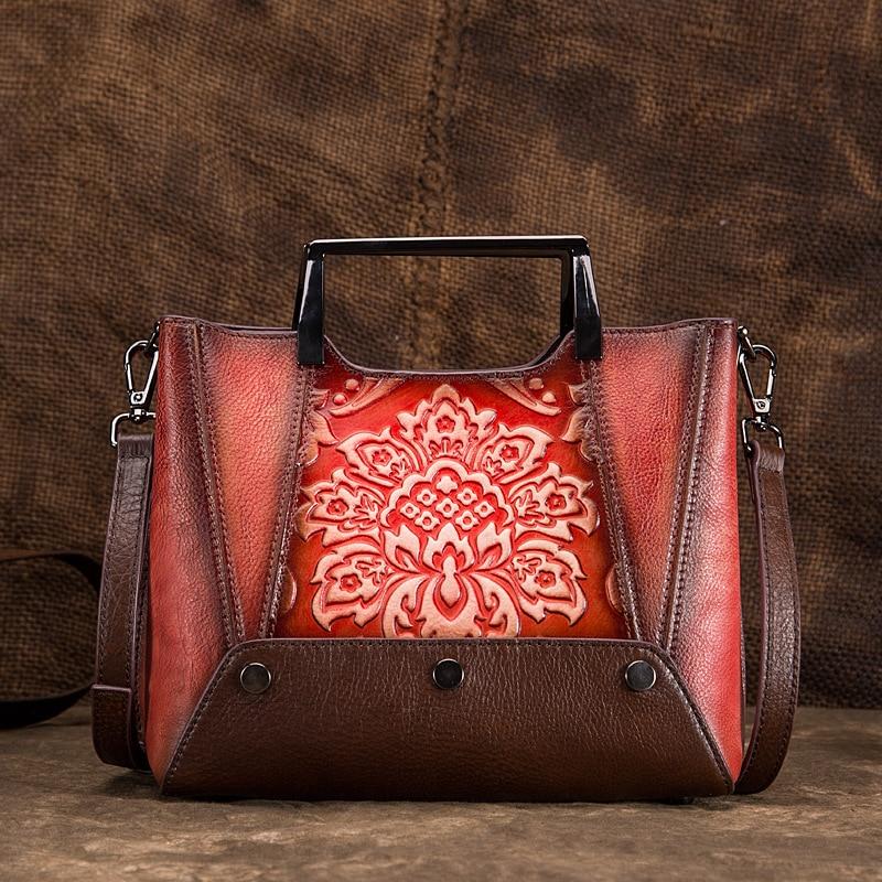 Women Cross Body Shoulder Genuine Leather Bag Chinese Style Vintage Tote Handbag Cowhide Embossed Messenger Top Handle Bags New