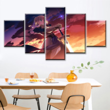 Framework Or Unframed 5 Pieces Anime Character Silhouette Poster Fate KOHA-ACE Modern Canvas Print Painting Wall Art Decor