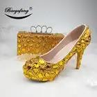 Новинка; женские свадебные туфли с сумочкой в комплекте; свадебные туфли с золотыми кристаллами; комплект из туфель и сумочки для невесты и ... - 4