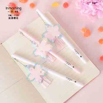 36pcs Gel Pens Cartoon Cherry blossoms black colored gel-ink pens pens for writing Cute stationery office school supplies 0.5mm