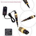 New KX-103 Professional Permanent Tattoo Eyebrow Pen Machine Makeup with Kit 15 Needles 15 Tips Supply Black & Gold