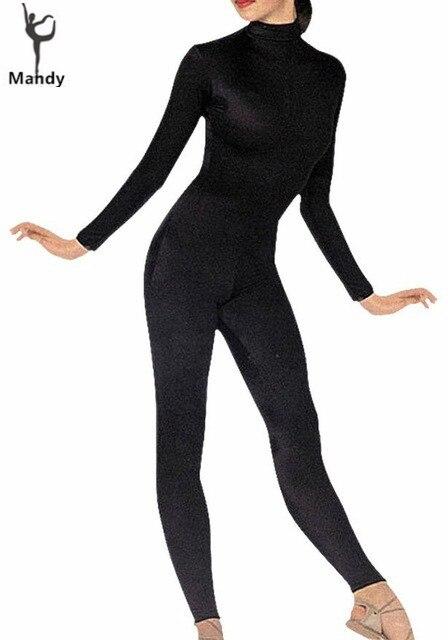 Plus Size Women Lycra Spandex Full Body Turtleneck Bodysuit Black Second Skin Tight Suits Dance Wear Long Sleeve Unitard Adult