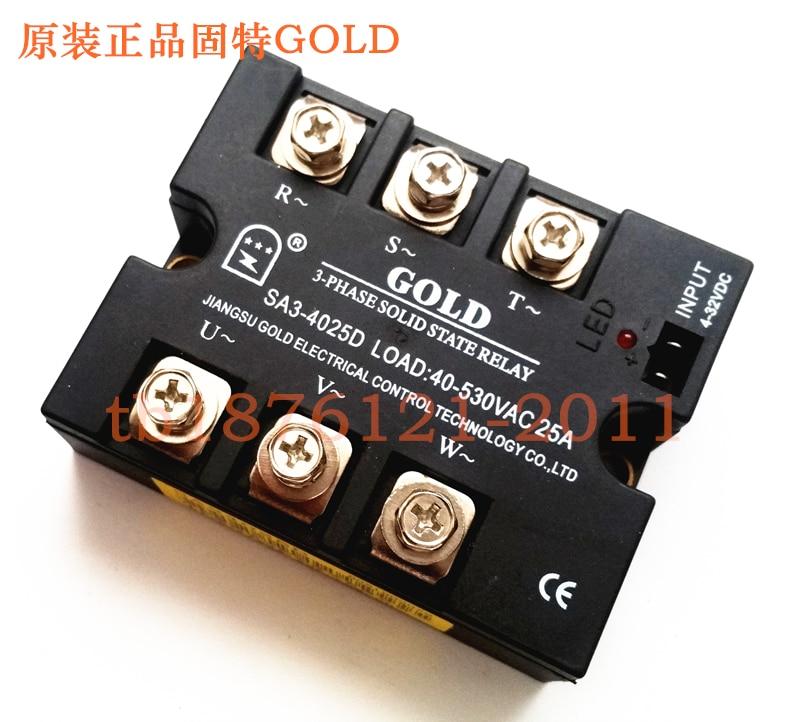 Three Phase Solid State Relay SA34025D DC Controlled AC 25A SA3-4025D new and original sa366250d sa3 66250d gold 3 phase solid state relay 4 32vdc 90 660vac 250a