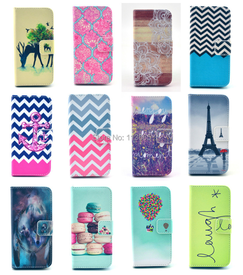 Free shipping Deer Laugh anchor cake balloon Eiffel Tower wallet stand PU Leather coque case For Samsung Galaxy S6 Edge