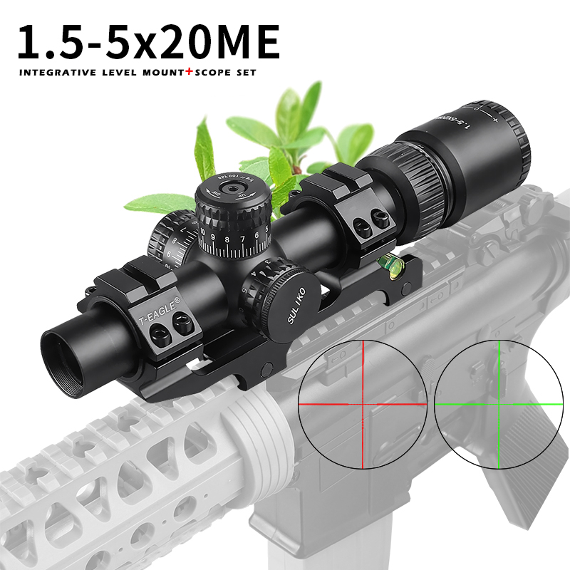New 1.5-5x20m Hunting Compact Riflescope Tactical Optical Sights Red And Green Illuminated  Rifle Scope For Airsoft Airgun