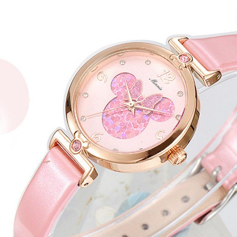 2019 Brand Luxury Women 39 s Watches Fashion Leather Wristwatch For Disney Female Waterproof Quartz Pink Watch School Hand Watch in Women 39 s Watches from Watches