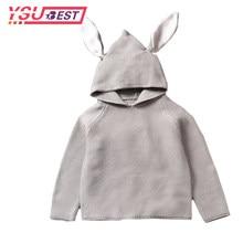 c2a641688 2018 nuevos suéteres de los niños Orejas de conejo niños niñas suéter con  encapuchados de lana