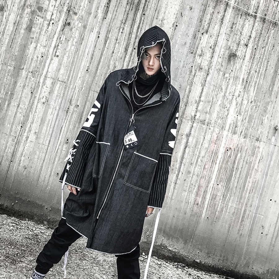 b8f13e1ebfa ... Джинсовая Тренч мужская с капюшоном Винтаж в стиле панк Рок куртки  длинные High Street печати хип ...