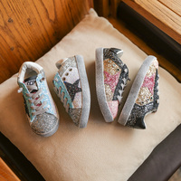 2017 Fashion Girls Shoes Shiny Sequined Kids Sneakers Vintage Style 2017 Autumn Girls Geometric Patchwork Casual