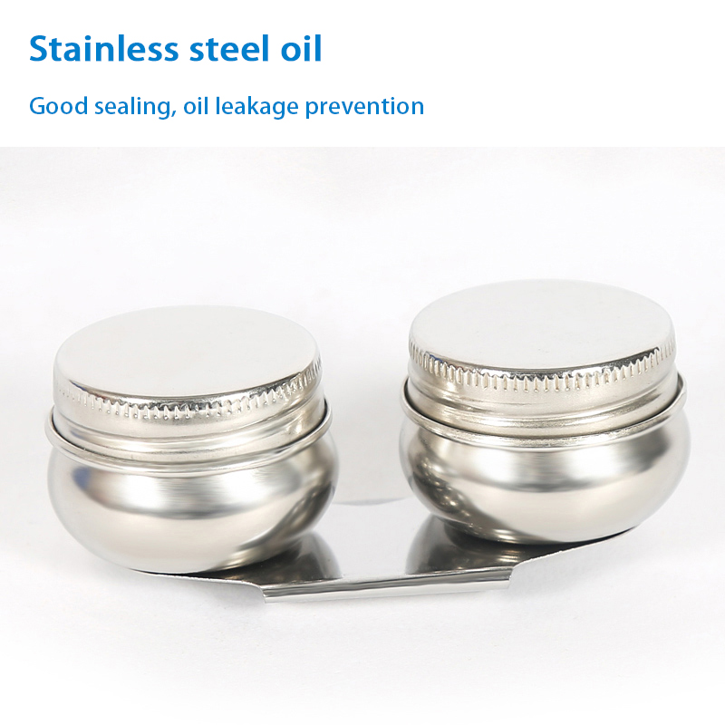 Stainless Steel Double Hole Oil Pot Oil Paint Painting Color Palette With Lid Double Mouth Drum Type Leakproof Art Supplies