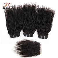 Afro Kinky Curly Non Remy Malaysian Human Hair Weave Extensions Natural Color 3 Bundles With 4