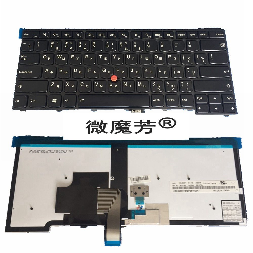 Russian FOR LENOVO For ThinkPad T440S T440P T440 E431 T431S E440 L440 <font><b>T460</b></font> T450 RU laptop <font><b>keyboard</b></font> with backlight image