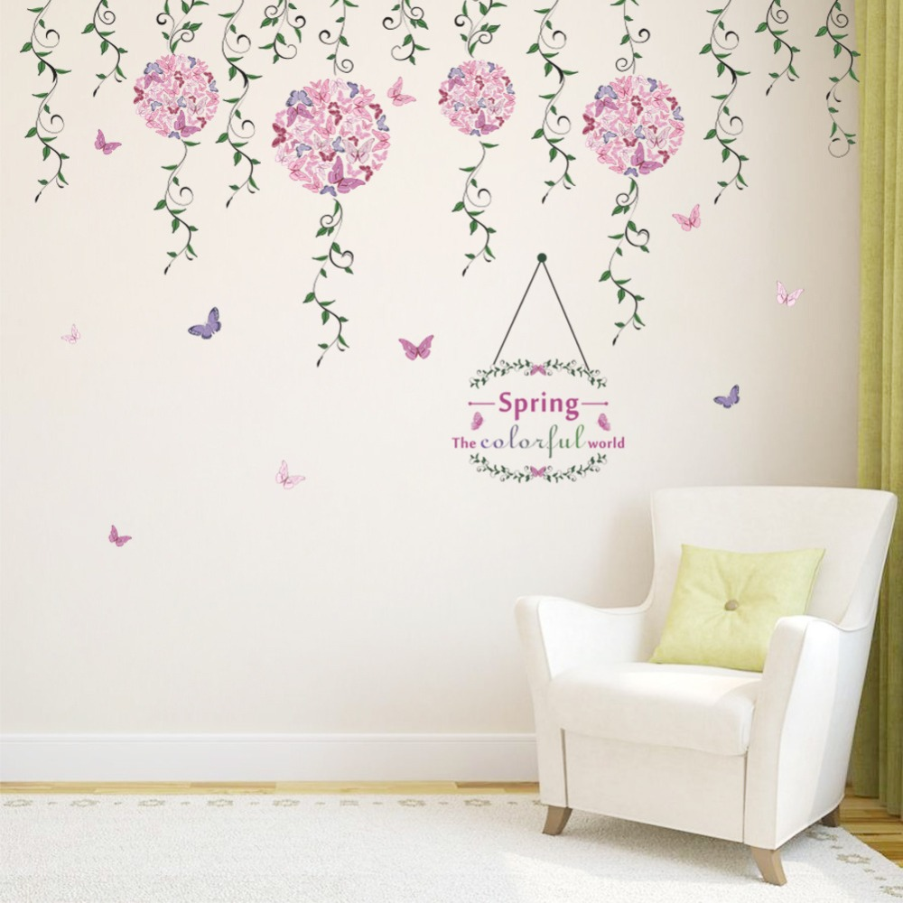 Us 4 87 35 Off Spring Butterfly Flower Vine Diy Vinyl Wall Stickers For Kids Rooms Home Decor Art Decals 3d Wallpaper Home Decoration Adesivo In