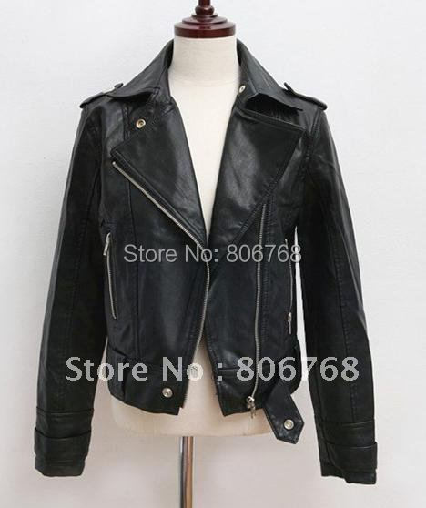 Hot New Women's Zipper PU Leather Jacket Lady Coat Outerwear LM235 (Drop Shipping Support!)