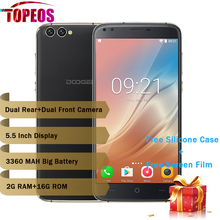 """DOOGEE X30 Four Camera 2×8.0MP+2×5.0MP Android 7.0 mobile phone 3360mAh 5.5"""" MTK6580A Quad Core 2GB RAM 16GB ROM Smartphone"""