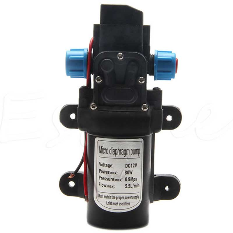 1Pc Diaphragm Pump DC 12V 80W 5.5L/min Motor High Pressure Diaphragm Water Self Priming Pumps For RV Boat Car Washing Machine dc 12v 80w high pressure diaphragm water pump electric water pump for boat caravan marine motor water pumps